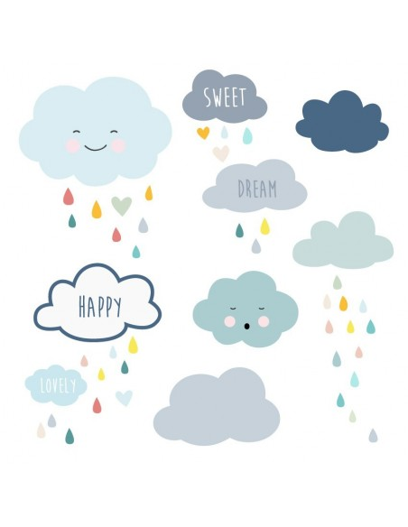 Stickers Graphiques,Stickers muraux: Frise nuages