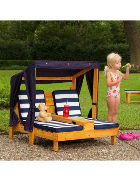Mobilier extérieur,Double chaise longue avec porte-gobelets