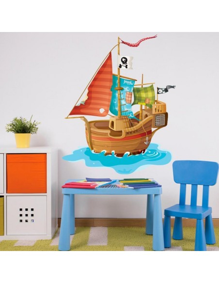 Stickers Pirates,Sticker mural pirate: bateau rouge