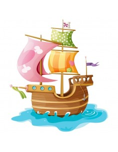 Stickers Pirates,Sticker mural pirate: bateau rose