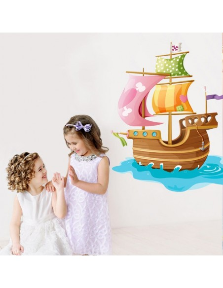 Stickers Pirates,Sticker mural pirate: bateau rose