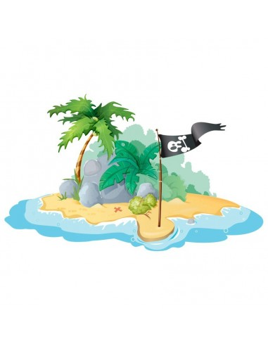 Stickers Pirates,Sticker pirate: île au drapeau
