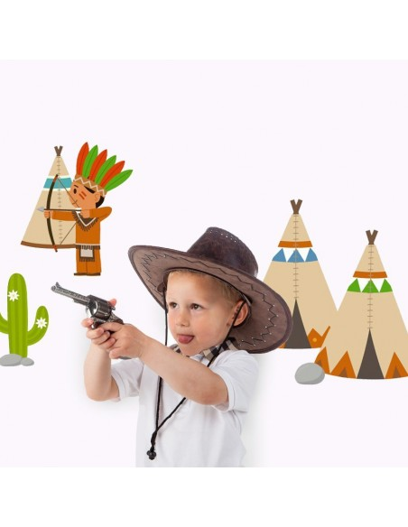 Stickers Indiens & Cowboys,sticker enfant: frise indien et son