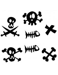 Stickers Pirates,Stickers frise pirate: têtes de mort, poissons