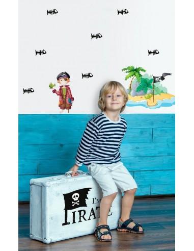 Stickers Pirates,Stickers frise pirate: arêtes de poisson