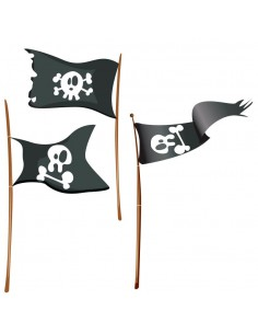 Stickers Pirates,Stickers muraux: 3 drapeaux pirates