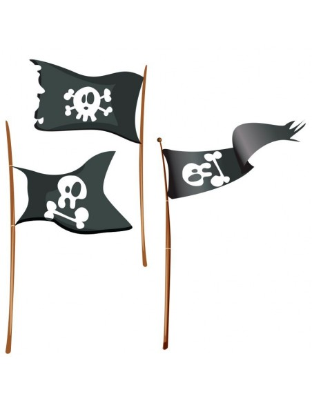 Stickers Pirates,Stickers muraux: 3 drapeaux pirates