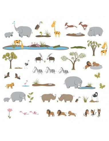 Stickers Jungle & Savane,Planche géante de 50 stickers Savane
