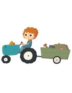 Stickers Ferme,Sticker enfant: Fermier sur Tracteur