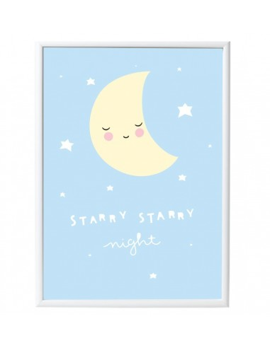 Poster enfant,Poster Lune Bleu