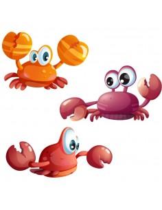 Stickers de la Mer,Stickers de la mer: 3 crabes