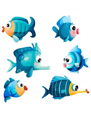 Stickers de la Mer,Stickers de la mer: Poissons bleus