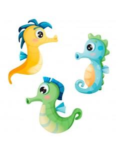 Stickers : 3 hippocampes bleus