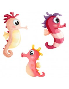 Stickers de la Mer,Stickers: 3 hippocampes rouges