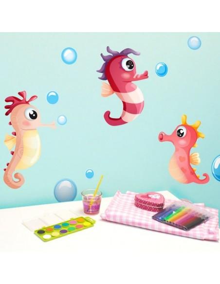 Stickers de la Mer,Stickers: 3 hippocampes rouges