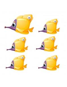 Stickers de la Mer,Stickers mer: Banc de poissons jaunes