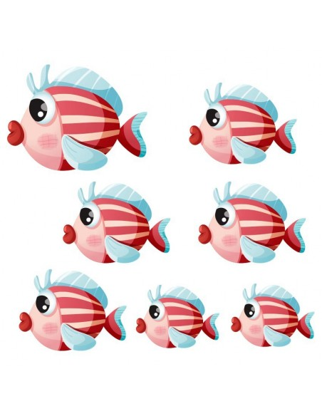Stickers de la Mer,Stickers mer: Banc de poissons rayés