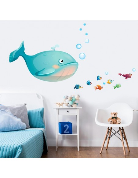 Stickers de la Mer,Stickers mer: frise poissons multicolore