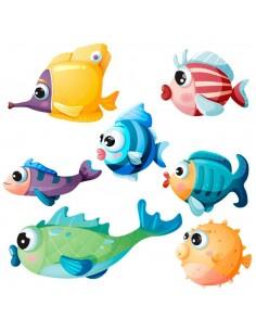Stickers de la Mer,Stickers océan: frise petits poissons