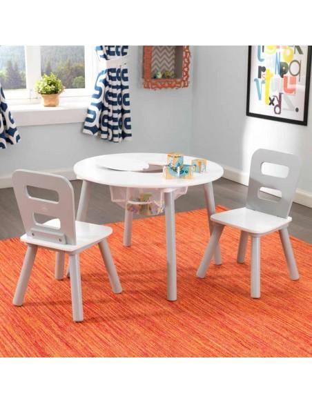 ensemble chaises et table ronde gris. Black Bedroom Furniture Sets. Home Design Ideas