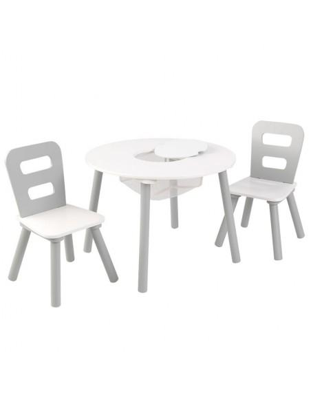 Tables- Chaises & Bureaux,Ensemble chaises et table ronde gris