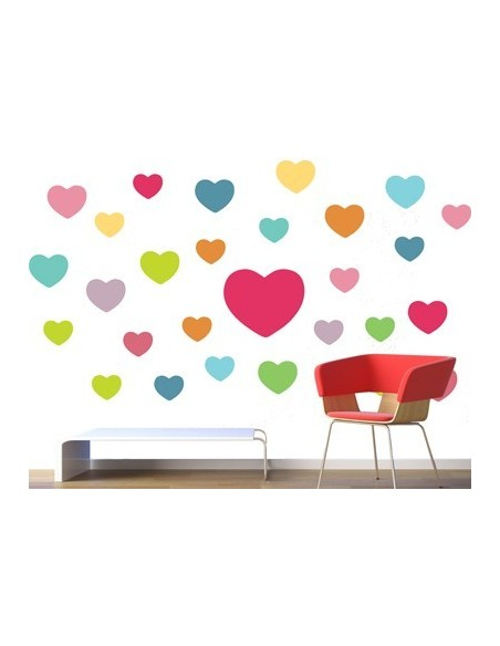 Stickers Graphiques,Stickers muraux: Coeurs couleurs