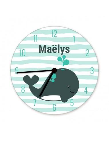 Horloges,Horloge enfant prénom: baleine
