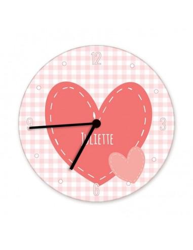 Horloges,Horloge enfant prénom: 2 coeurs