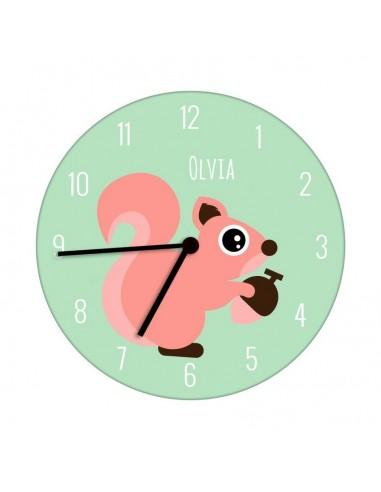 Horloges,Horloge enfant prénom: Ecureuil
