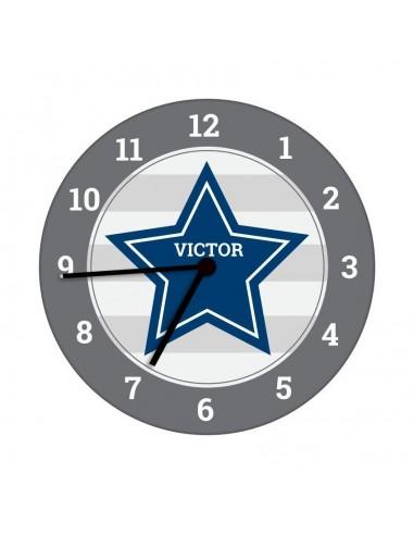 Horloges,Horloge enfant prénom: étoile bleue