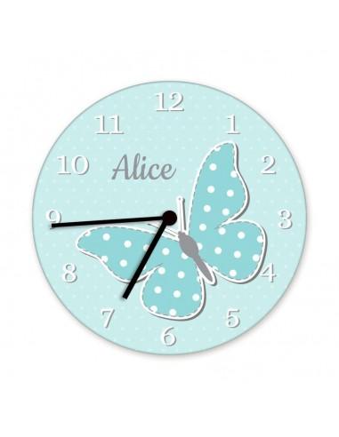 Horloges,Horloge enfant prénom: papillon