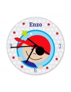 Horloges,Horloge enfant prénom: tête pirate