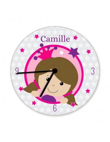 Horloges,Horloge enfant prénom: tête princesse brune