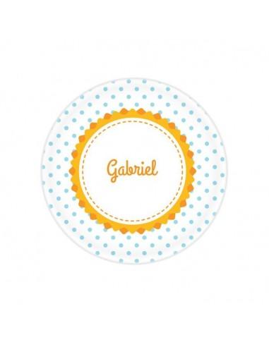 Vaisselle personnalisée,Assiette enfant prénom: Fleur & Pois