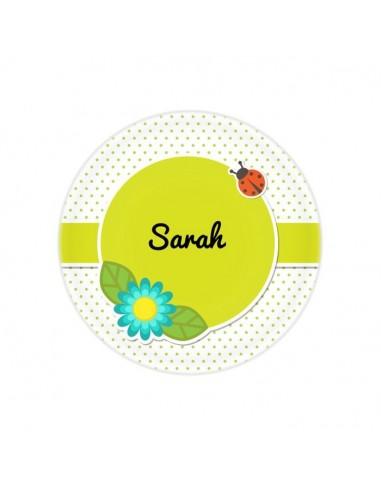 Vaisselle personnalisée,Assiette enfant prénom: Coccinelle &