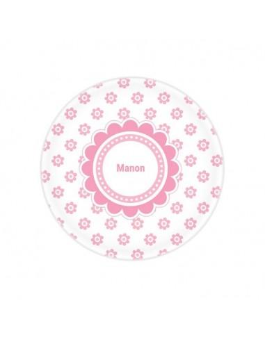 Vaisselle personnalisée,Assiette enfant prénom: Fleurs roses
