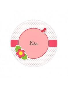 Vaisselle personnalisée,Assiette enfant prénom: Papillon & fleur