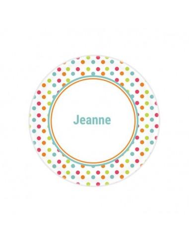 Vaisselle personnalisée,Assiette enfant prénom: Pois colorés