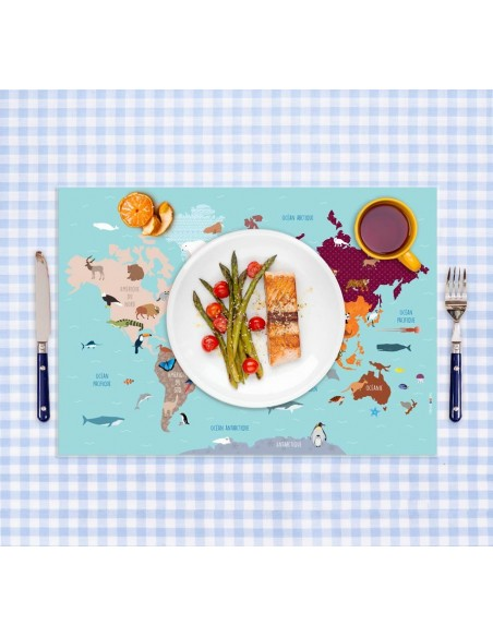 Set de table,Set De Table Enfant: Carte Monde Animaux