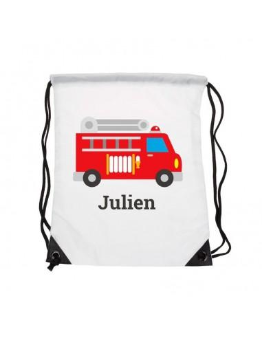 Sacs personnalisés,Sac enfant prénom: Camion pompier
