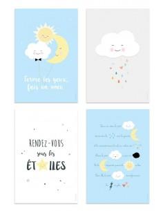 Poster enfant,Kit de 4 affiches: nuage