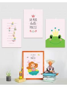 Poster enfant,Kit de 4 affiches: princesse