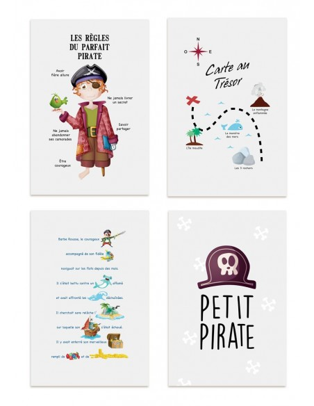 Poster enfant,Kit de 4 affiches: pirate
