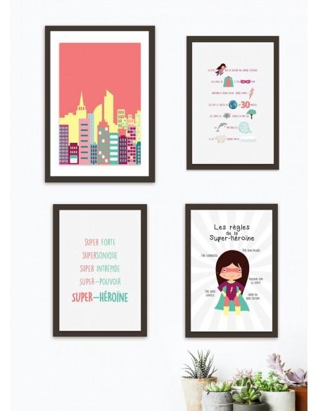 Poster enfant,Kit de 4 affiches: super-héroïne