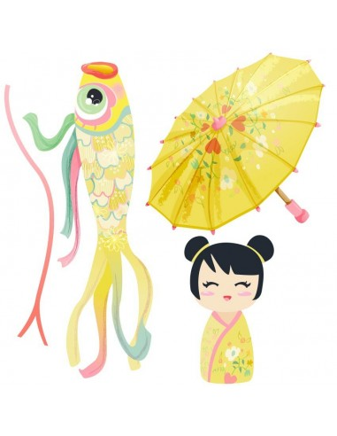 Stickers Asie,Stickers Japon: Ensemble ombrelle jaune