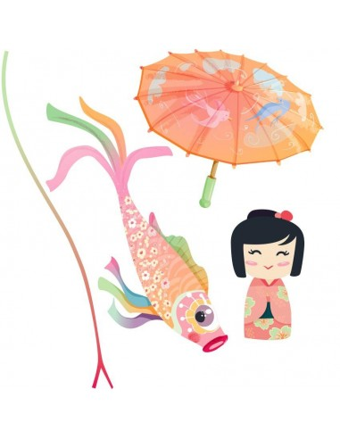 Stickers Asie,Stickers Japon: Ensemble ombrelle rose