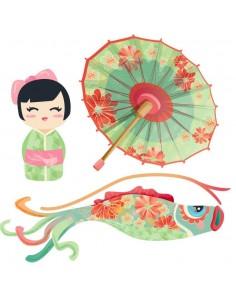 Stickers Asie,Stickers Japon: Ensemble ombrelle vert
