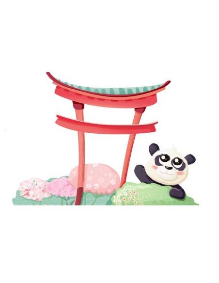 Stickers Asie,Sticker Japon: Panda et Torii