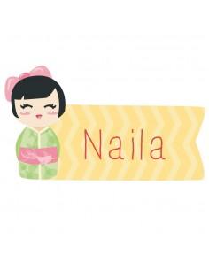 Stickers Asie,Sticker Prénom: Kokeshi verte