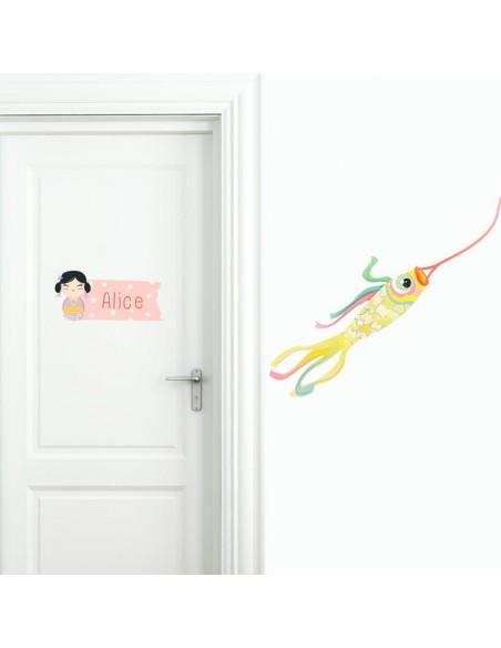Stickers Asie,Sticker Prénom: Kokeshi Violette
